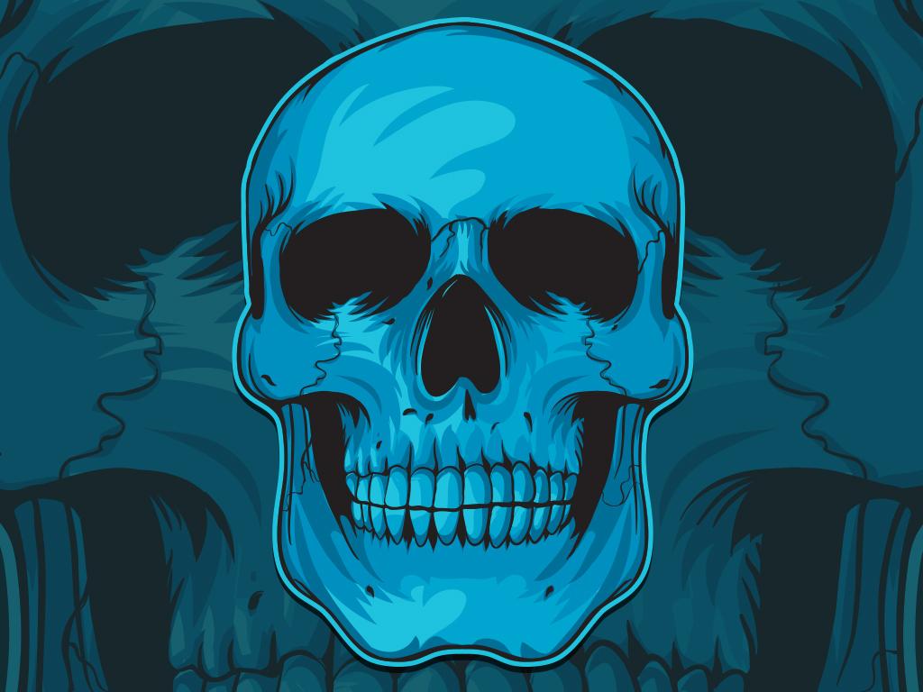 картинки череп на синем фоне